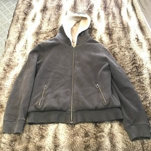 Old Navy brown sweatshirt jacket with faux fur XL